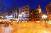 La Rambla street in evening. — Stock Photo
