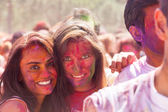 Women  posing at  Festival  Holi Barcelona — Stock Photo