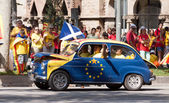 Car at rally demanding independence for Catalonia. — Stock Photo