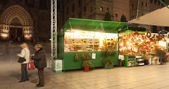 Christmas market near Cathedral — Stock Photo