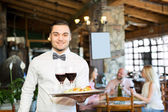 Portrait young male waiter — Stock Photo