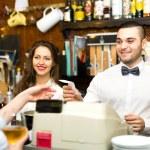 Joyful staff working in bar — Zdjęcie stockowe #72179055