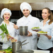 Team of positive chefs — Stock Photo #72179631
