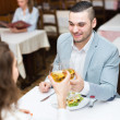 Man having romantic dinner with girl — Fotografia Stock  #72176337