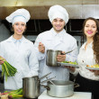 Team of positive chefs — Stock Photo #72176431