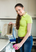 Woman doing laundry at home — Foto de Stock