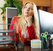 businesswoman in red having a tedious time   — Stock Photo