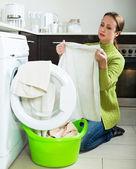 Woman with washing machine — Stock Photo
