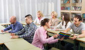 Students at extension courses — Stock Photo