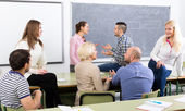 Professionals and coach at training — Stock Photo