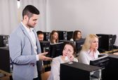 Department manager displeased employees — Stock Photo