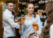 Restaurant guests having beverages — Stock Photo
