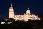 Catedral de salamanca em meia-noite — Fotografia Stock