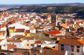 Chinchilla de Monte-Aragon from hill. — Stock Photo