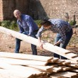 Workmen arranging building timber at farm   — Stockfoto #75046813