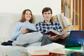 Students  studying books at home — Stock Photo