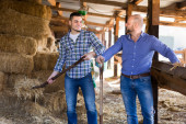 Two farmers working in barn — Stock Photo
