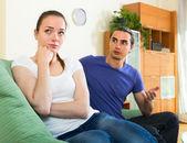 Couple having quarrel at home — Stock Photo