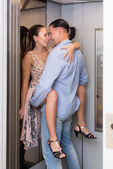Couple having sex at elevator — Stock Photo