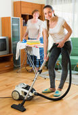 Family cleaning home — Stock Photo