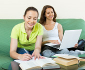 Young girls studying — Stock Photo