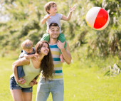 Family  playing with ball — Stock Photo