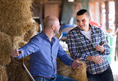Ranchers talking in a shed — Stock Photo