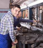 Locksmiths workmen working — Stock Photo