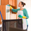 Woman cleaning at the office — Stock Photo #79916610