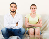 Man and woman talking stressfully — Stock Photo