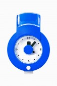 Blue wall clock isolated on white — Stock Photo