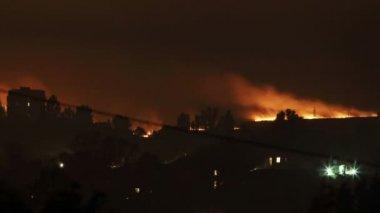 Night fire. Lights wheat field. FULL HD — Stock Video