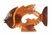 Fish statuette isolated on white background (souvenir) — Stock Photo