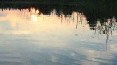 Sunset on the lake Moiseevskoe, Valdaysky district, Novgorod region, Russia. Full HD. Time-lapse — Stock Video