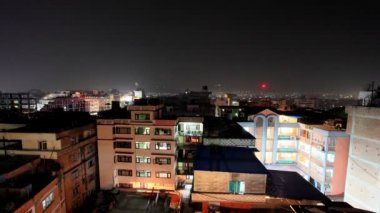 Buildings with flats at night, timelapse. Kathmandu. Nepal, Full HD — Stock Video