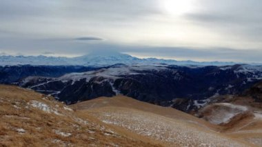 Timelapse sunset in the mountains Elbrus, Northern Caucasus, Russia. FULL HD — Stock Video