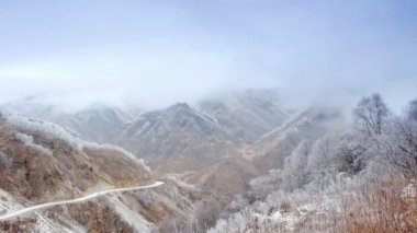 Movement of the clouds on the mountains, Northern Caucasus, Russia. FULL HD — Stock Video