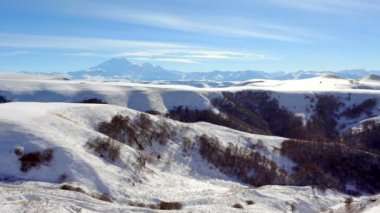 Movement of the clouds on the mountains Elbrus, Northern Caucasus, Russia. FULL HD — Stock Video