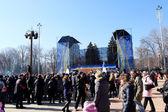 DONETSK - FEBRUARY 22: Celebrating Russian Maslenitsa festival i — Stock Photo