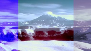 InfraRed landscape: Movement of the clouds on the mountains Elbrus, Northern Caucasus, Russia. FULL HD, Hoya R72 IR filter — Vídeo stock