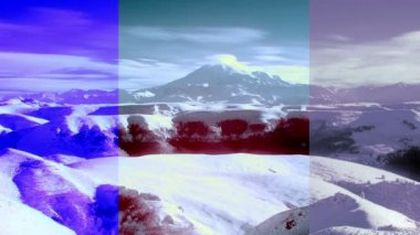 InfraRed landscape: Movement of the clouds on the mountains Elbrus, Northern Caucasus, Russia. FULL HD, Hoya R72 IR filter — Stock Video