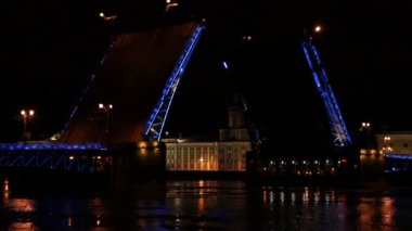 Night view of Opening Palace bridge in St. Petersburg, Russia. Full HD — 图库视频影像
