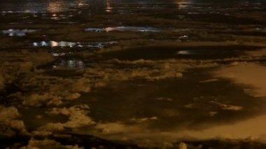 Ice drift on the river Neva, night in St. Petersburg, Russia. Full HD — Stock Video