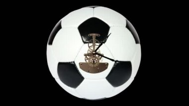 Soccer Ball Clock on the black background, Timelapse — Stockvideo