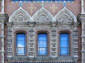Exterior windows of a mosaic on the Church of the Savior on Spil — Stock Photo