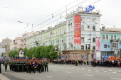 Victory Parade in Donetsk. Military parade dedicated to the 70th — Stock Photo