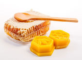 Honeycomb with beeswax — Stockfoto