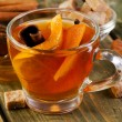 Christmas tea with orange, honey and spices — Stock Photo #55502663