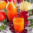 Healthy fresh juices, fruits and vegetables — Stock Photo #56236033