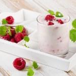 Raspberry yogurt with mint — Stock Photo #60116617
